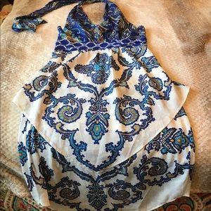 New York & Co Paisley Halter Empire Dress